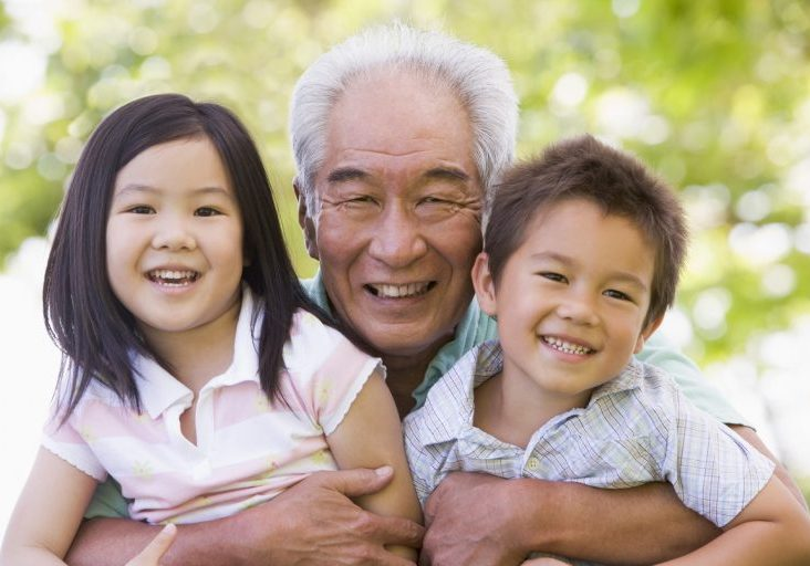 grampa with kids for ASPREE study